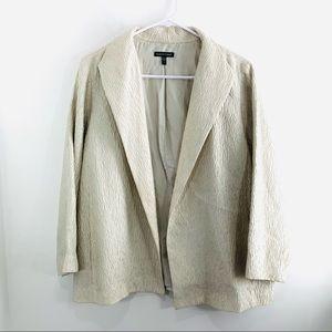 Eileen Fisher Champagne Open Front Textured Blazer